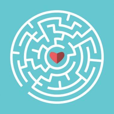 Heart inside circular maze