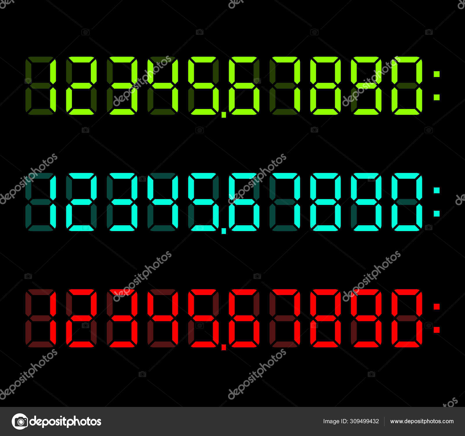 Neon Digital Display Font Stock Vector C Dmitry Guzhanin 309499432