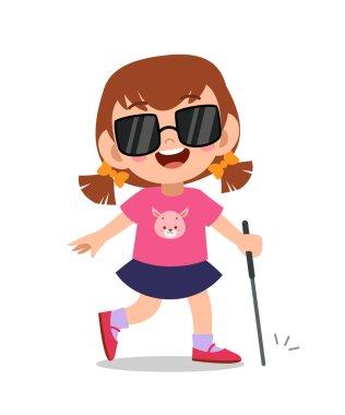 kid blind disabled vector illustration
