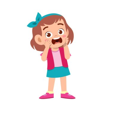 Cute kid teen girl show facial expression stock vector