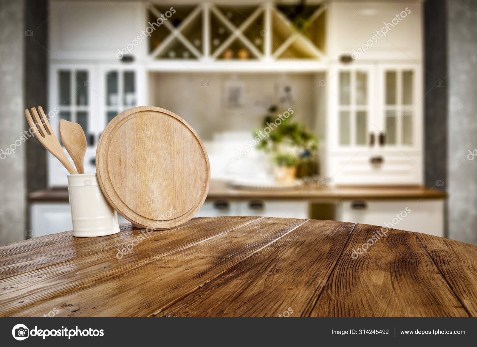 Kitchen table top with empty space for you products or decoration and  blurred kitchen furniture background. 9