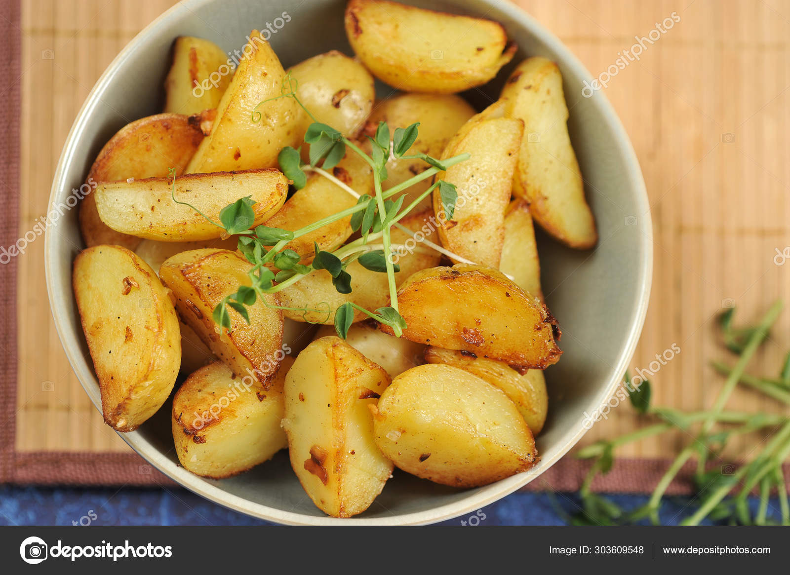 Slices Fried Potatoes Deep Bowl Potatoes Supplemented Sprouts Green Peas Stock Photo C Pavlovaspb 303609548