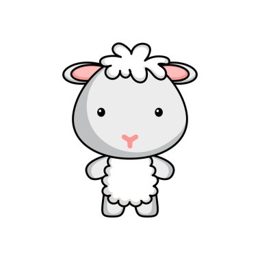 Cute cartoon sheep logo template on white background. Mascot animal character design of album, scrapbook, greeting card, invitation, flyer, sticker, card. Vector stock illustration. icon