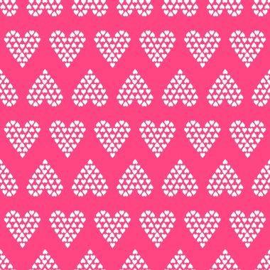 Valentine's Day Pink Seamless Vector Patterns.
