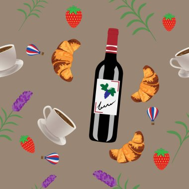 French set of wine, croissant, coffee, strawberries, lavender, balloon isolated on a light brown background. Set France.