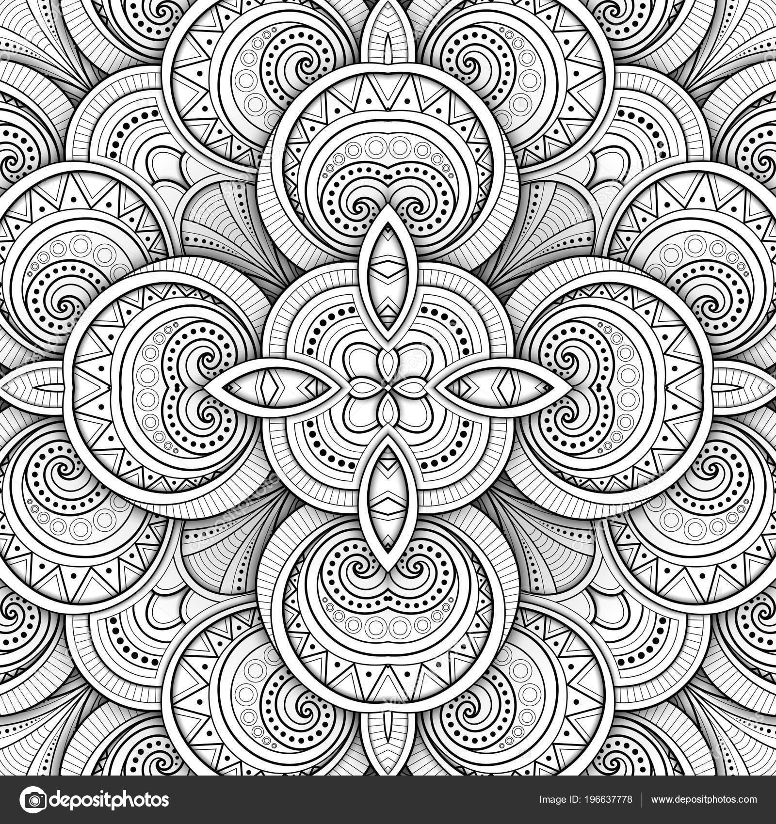 Tek Renkli Sorunsuz Döşeme Deseni Süslü Kaleidoscope Sonsuz Etnik