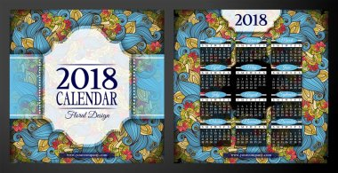 Double-sided Colored 2018 Year Calendar Square Templates, vector, illustration