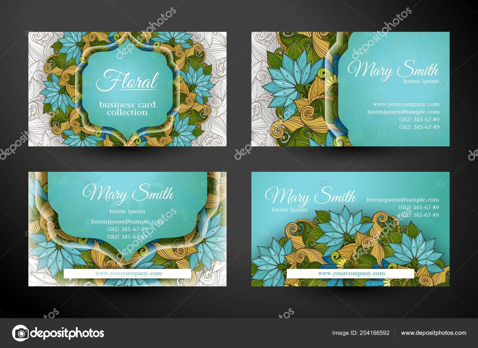 Jeu Cartes Visite Horizontale Avec Belles Fleurs Motifs Feminin Elegant Image Vectorielle