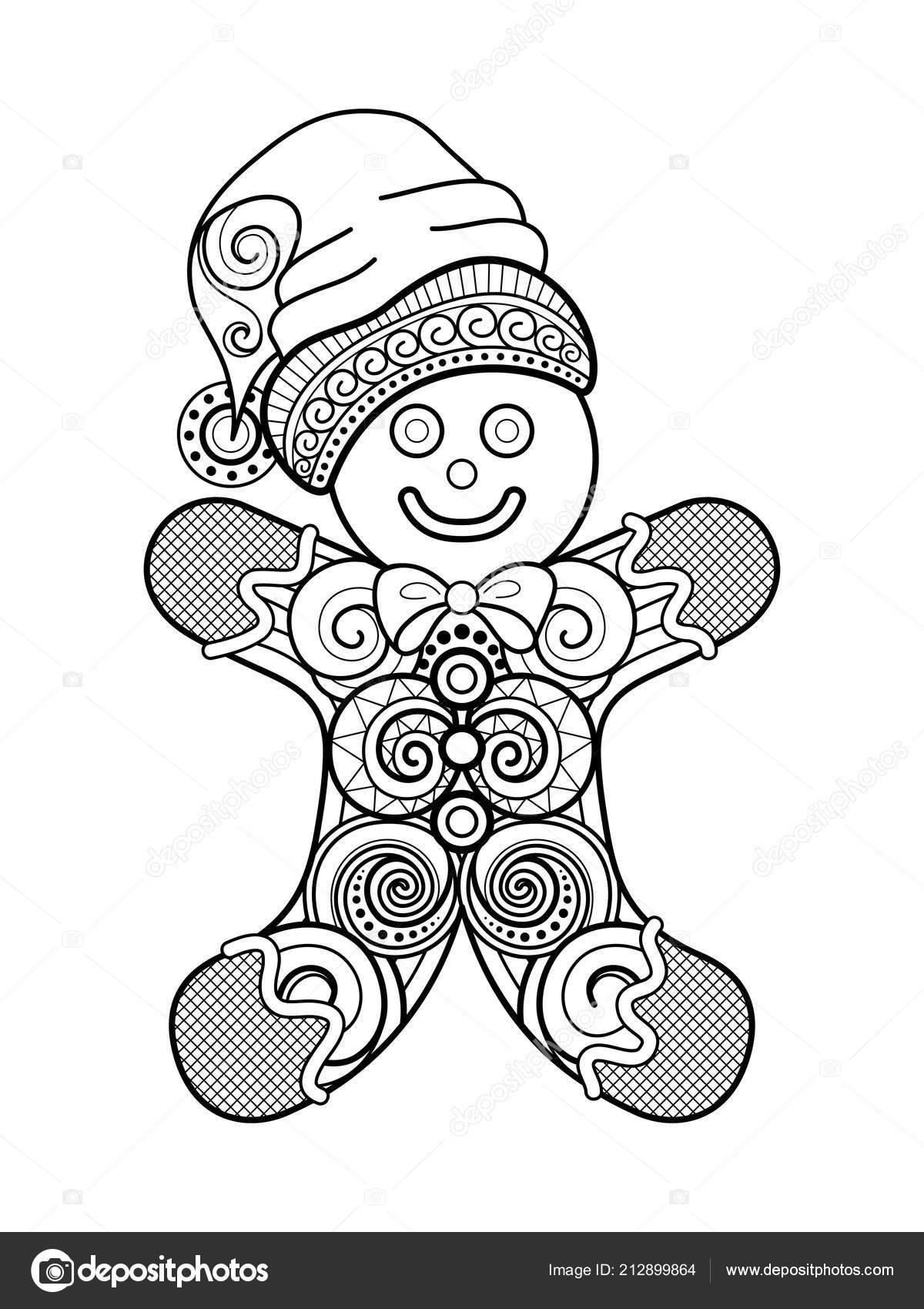 Decorazione Natale Ornato Monocromatico Felice Anno Nuovo Omino