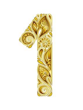 golden Decorative Number One in Paisley Garden Ethnic Style for Banner, Emblem Symbol. Realistic Floral Ornament. Vector 3d Illustration