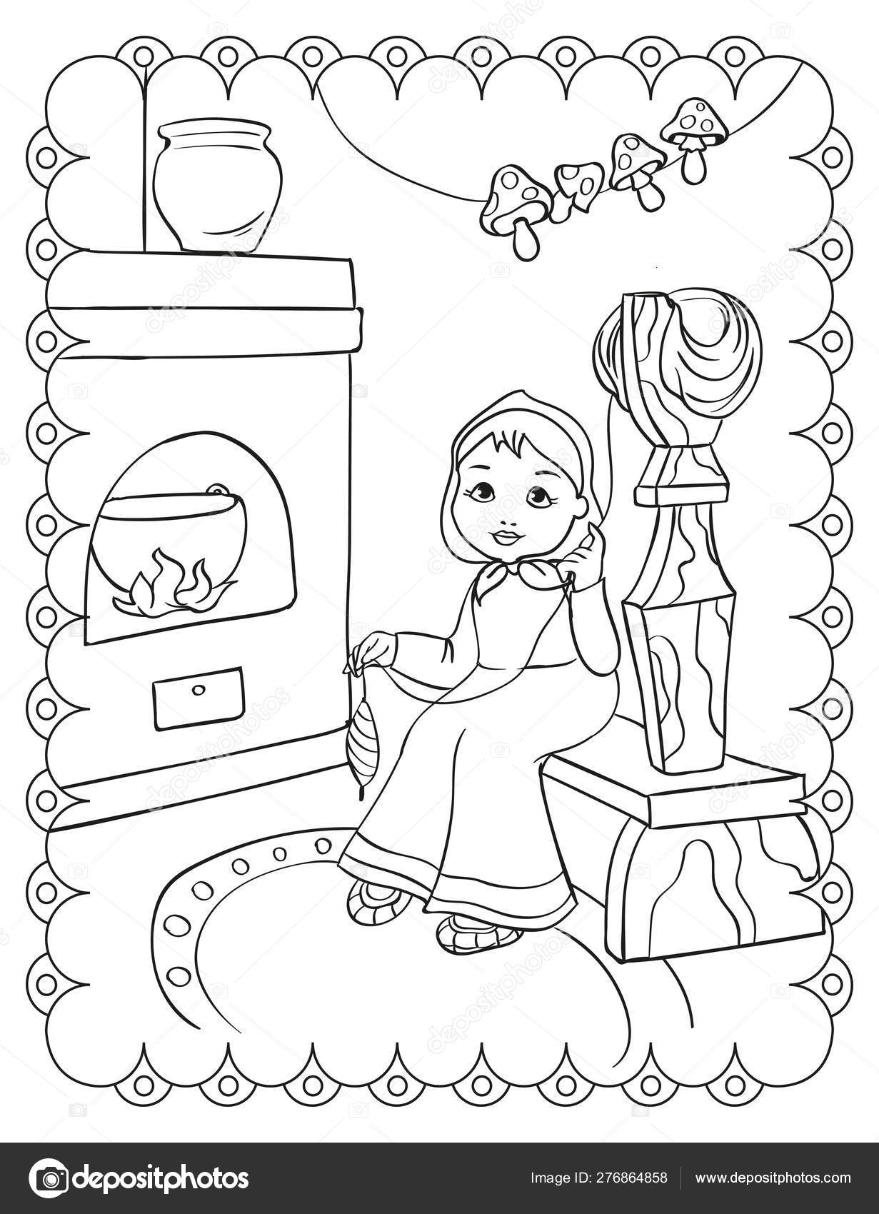 Coloring Book Fairy Tale Girl Spins Yarn — Stock Vector ...