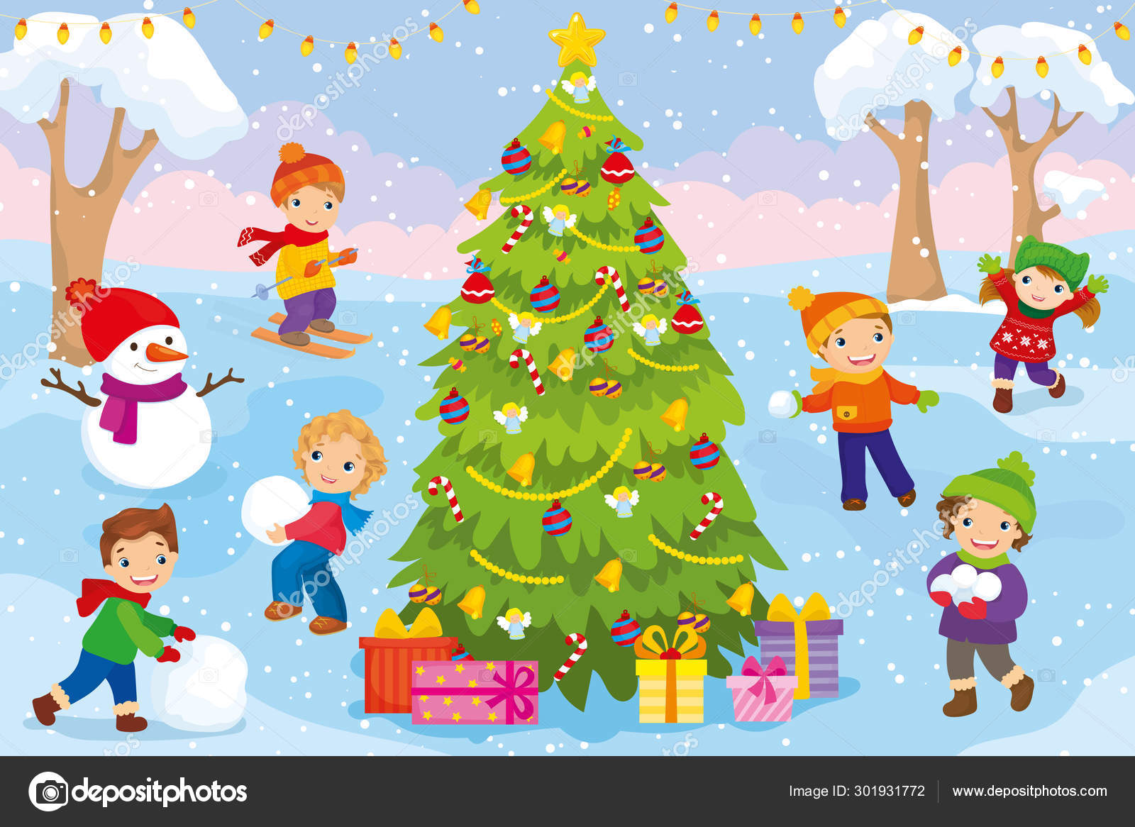 Children Play With Snow Outside Christmas Tree Stock Vector C Ingasmk 301931772 Illustration about cartoon forest trees, bushes, hedges and rocks. children play with snow outside christmas tree stock vector c ingasmk 301931772