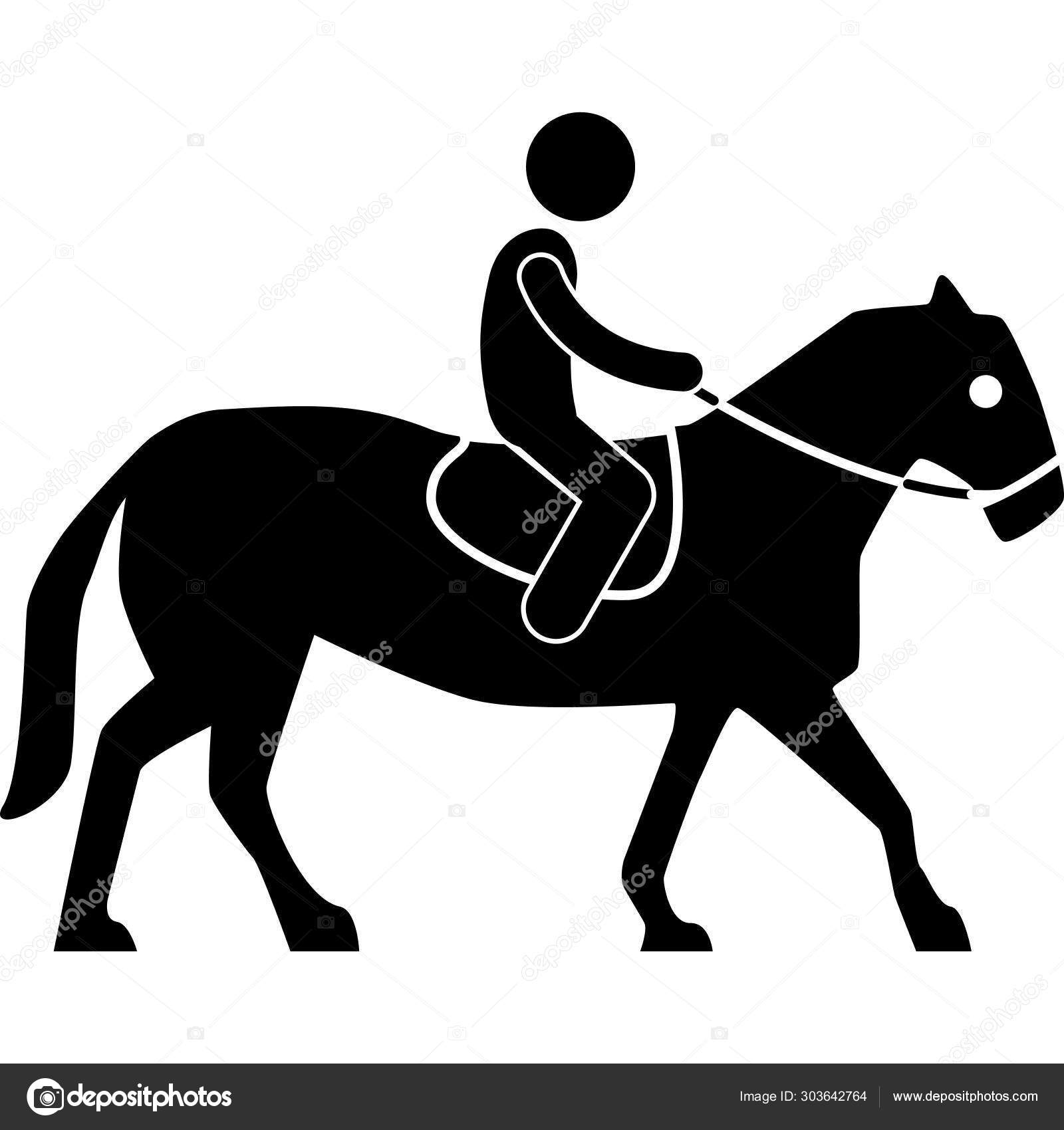 Horse Riding Simple Illustration Stock Vector C Iconscout 303642764