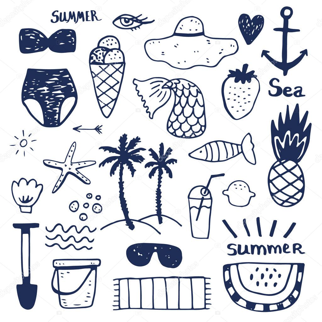 Summer vacation accessories flat icons set. Colorful abstract vector illustration.
