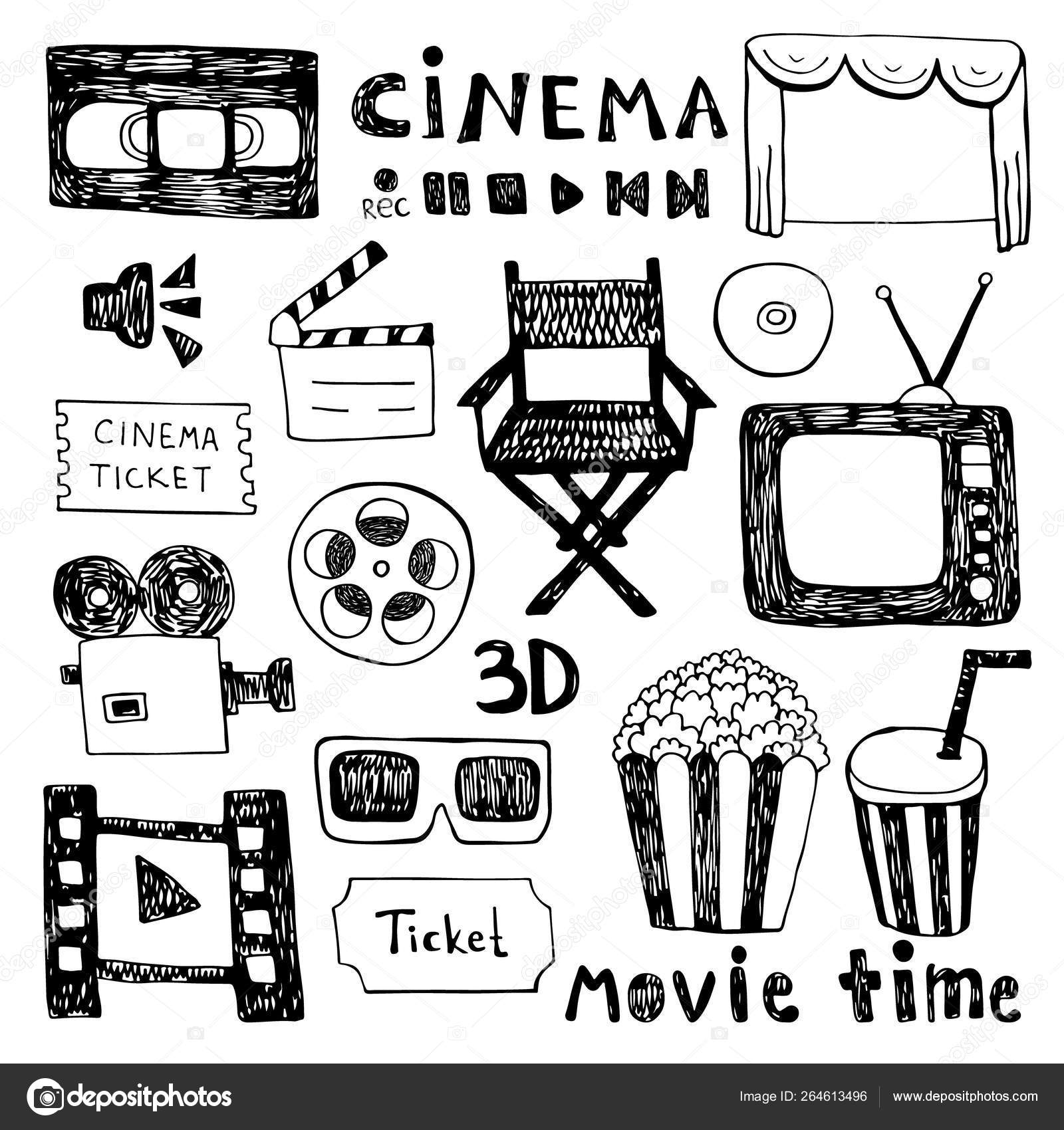 Hand drawn colorful vector illustrations - Cinema collection