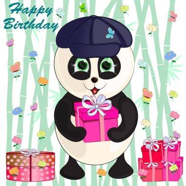 cartoon cute panda on a bamboo background. birthday greeting card. vector illustration.
