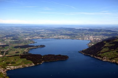 Panoramic landscape view of Lake Zug from top of Rigi Kulm, Mount Rigi, Switzerland