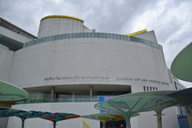 Bangkok, Thailand 08.23.2019: Beautiful, modern and extraordinary Bangkok Art and Culture Centre or BACC which is the hub of Bangkok's burgeoning art scene at Siam square in the heart of the city