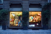 Milan, Italy, 08.04.2019: Storefront, entrance and displays of the Il Cirmolo vintage and modern antiques shop in the Brera Art District which is a romantic, artists neighborhood