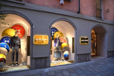 Milan, Italy  06.07.2019: Storefront and entrance of Jacob Cohn Store in Via della Spiga.