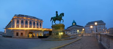 Panoramic night view of equestrian statue of Archduke Albert in