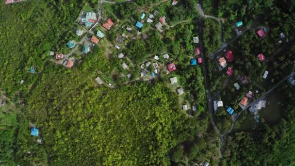 Overhead aerial drone moves over houses and roads with cars in dense trees (Saint Lucia)