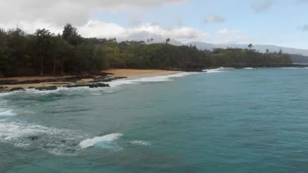 Aerial camera slowly approaches a sandy shore with a dense forest on a rainy day (Kauai, Hawaii, USA)