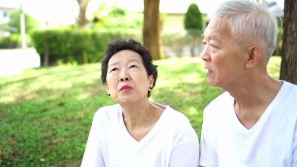 Asijské starší pár mluvit o budoucnosti po odchodu do důchodu v zelené rezidenci park