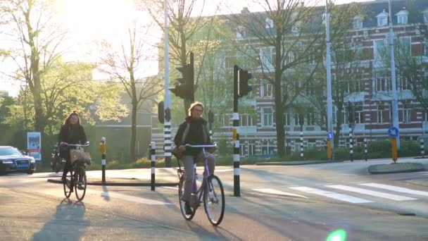 Amsterdam, Netherlands - 4 April 2017 : People biking after work, green city at sunset