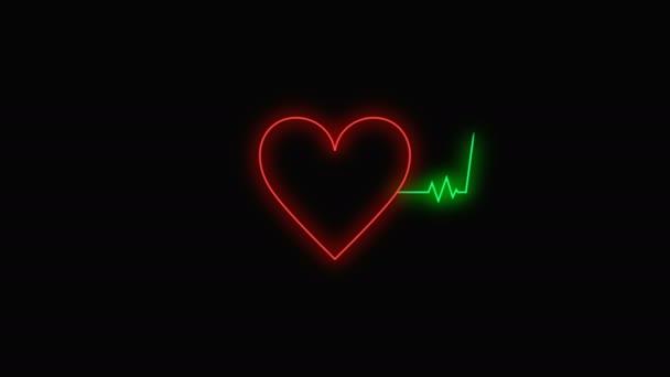 Corazón Neón Latiendo Con Video Gráfico Movimiento Onda Pulso