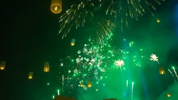 Chiang Mai, Thajsko loy krathong masové Lucerna vydání festivalu ohňostrojů video