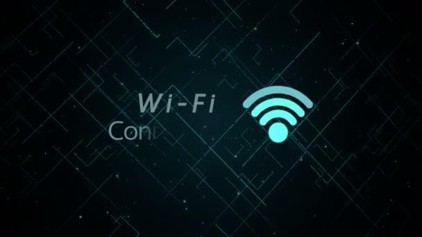 futuristische blaue Wifi-Symbol verbinden, beleuchten auf dunkler Technologie Hintergrundanimation