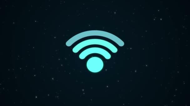futuristische blaue Wifi-Ikone verbindet, beleuchtet Galaxiensterne Weltraum Hintergrund
