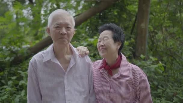 Asijské starší pár stojan společně v přírodě 4k