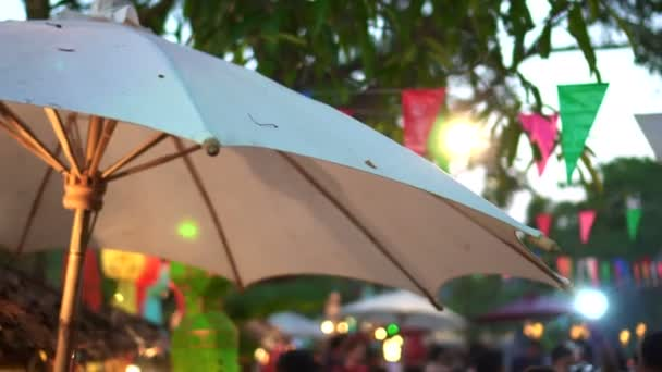 Chiang Mai Classic Style Evening Festival Thailand Lights And Umbrella