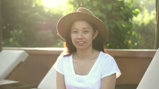 Asian Woman Travel Tropical Morning Sunlight Lush Nature