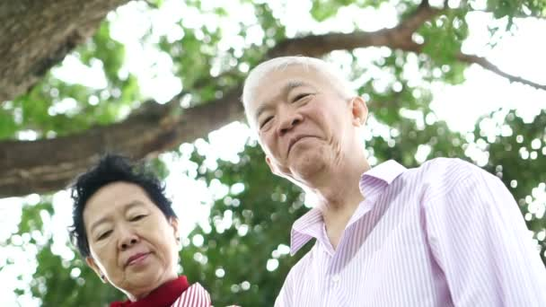 Starší asijský pár šťastný v parku nízký úhel pohled na kameru
