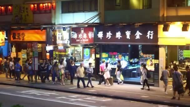 Hong Kong -26 April 2016- People Walk On Hong Kong Street Side After Work