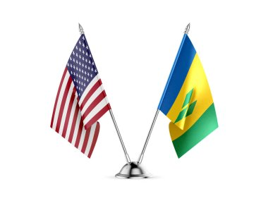 Desk flags, United States America and Saint Vincent and the Grenadines, isolated on white background. 3d image