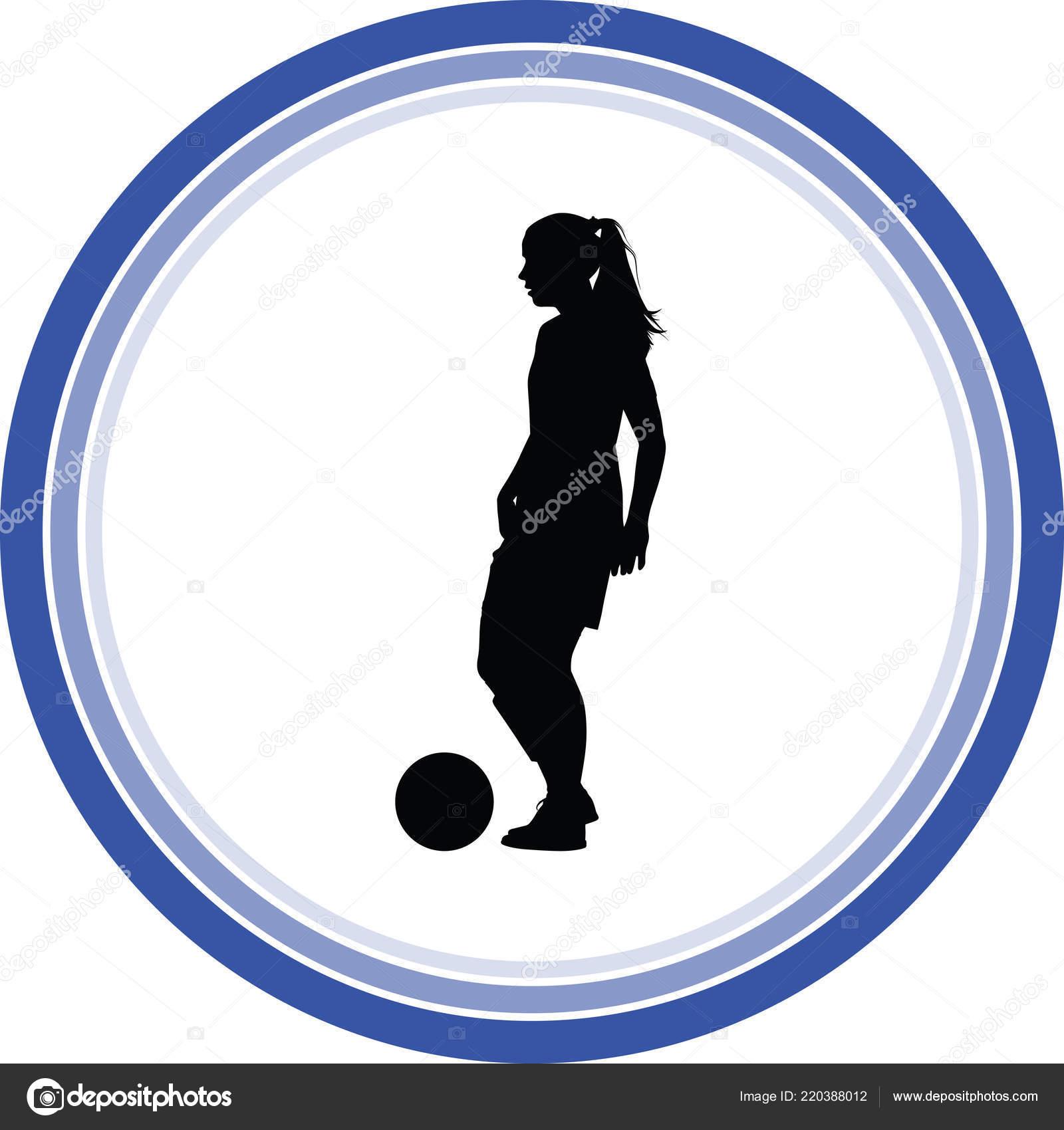 Soccer Women Silhouette Girl Player Vector — Stock Vector © paunv ... e382a3e36b