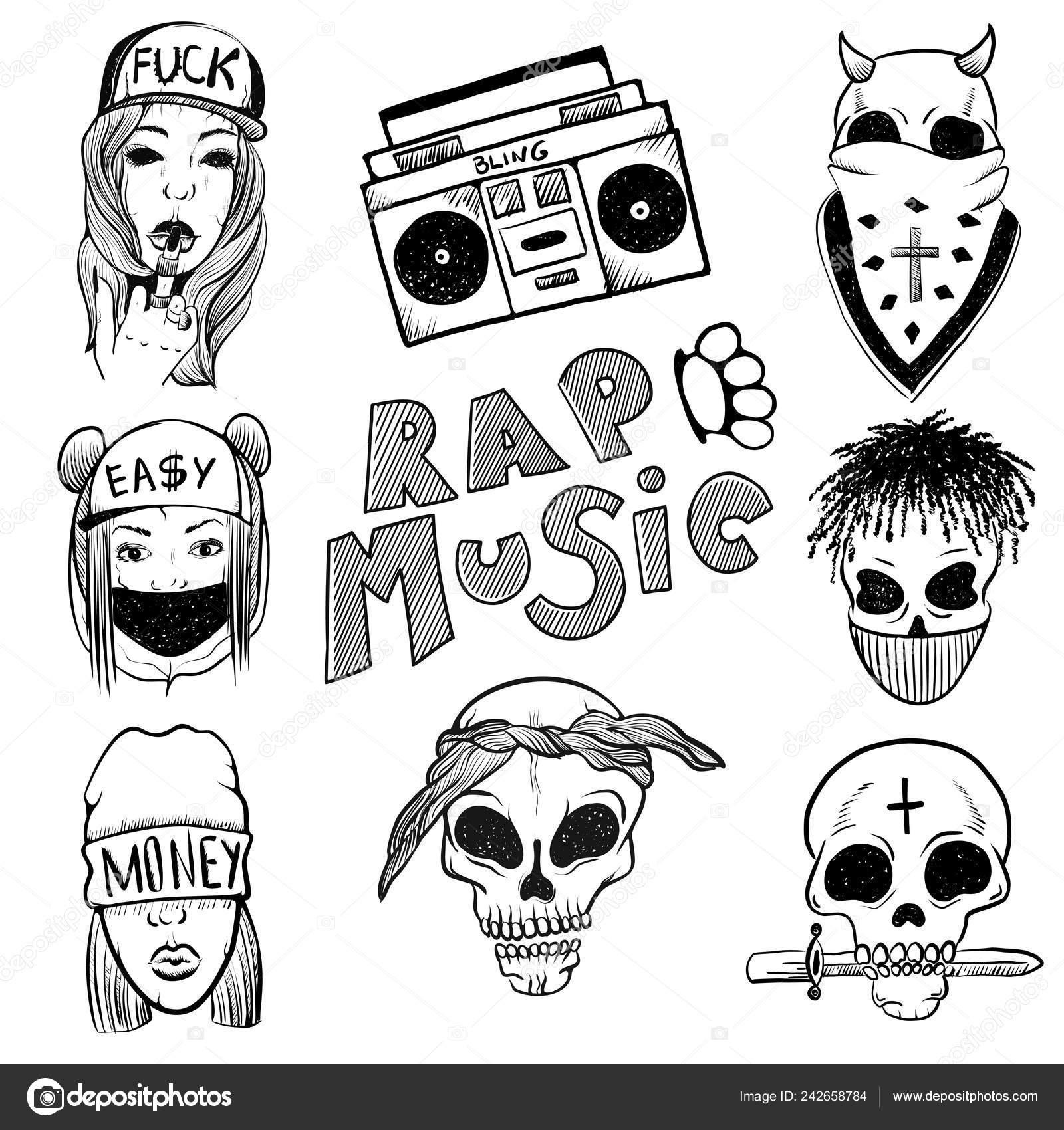 Urban Street Hip Hop Music Girl Boy Skull Rapper Skull — Stock