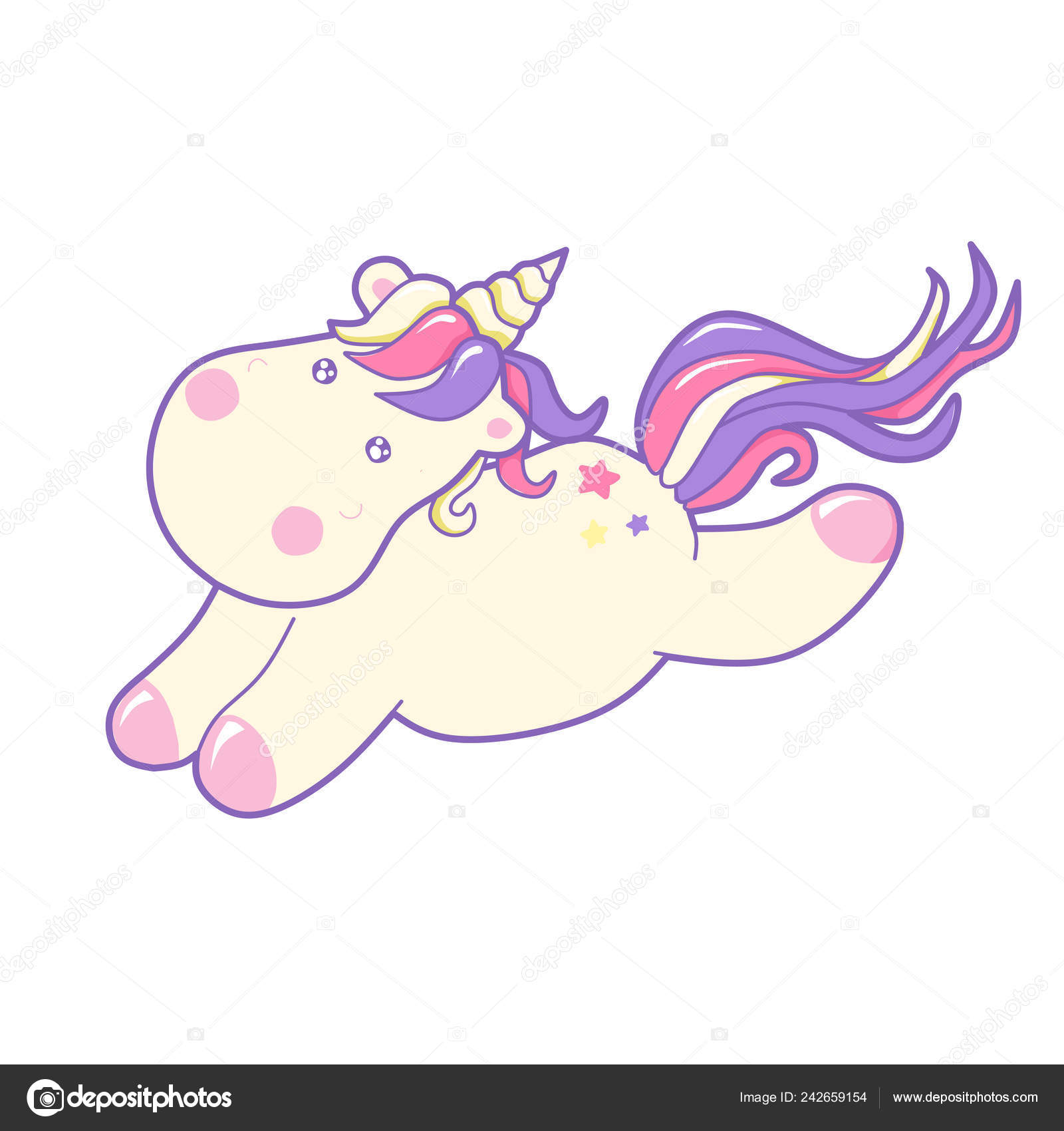 Licorne Mignon Illustration Vectorielle Kawaii Conte Fées