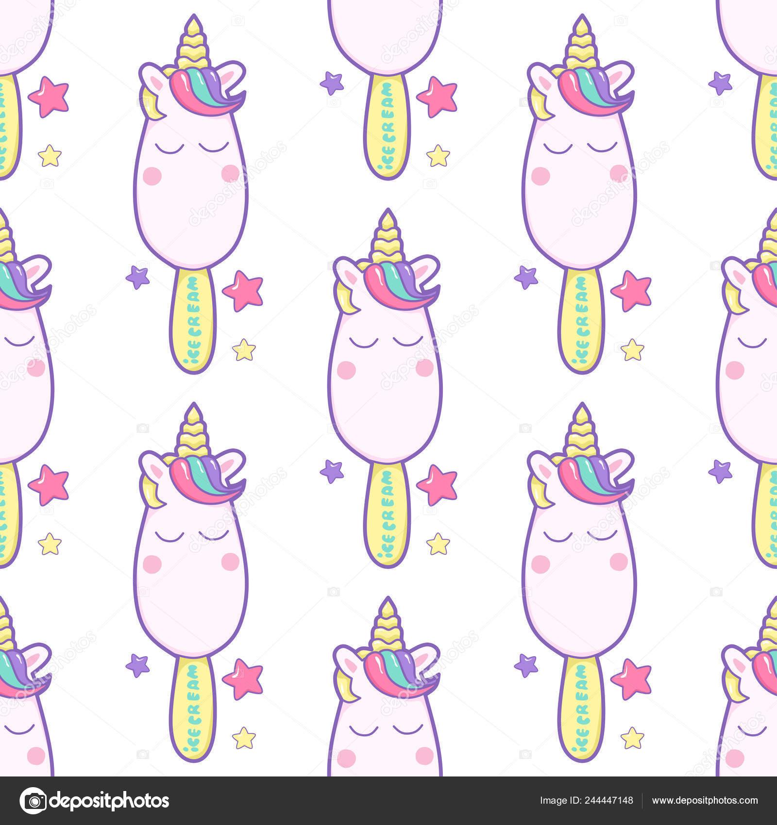 Cute Kawaii Glace Sur Licorne Bâton Rêves étoiles Modèle