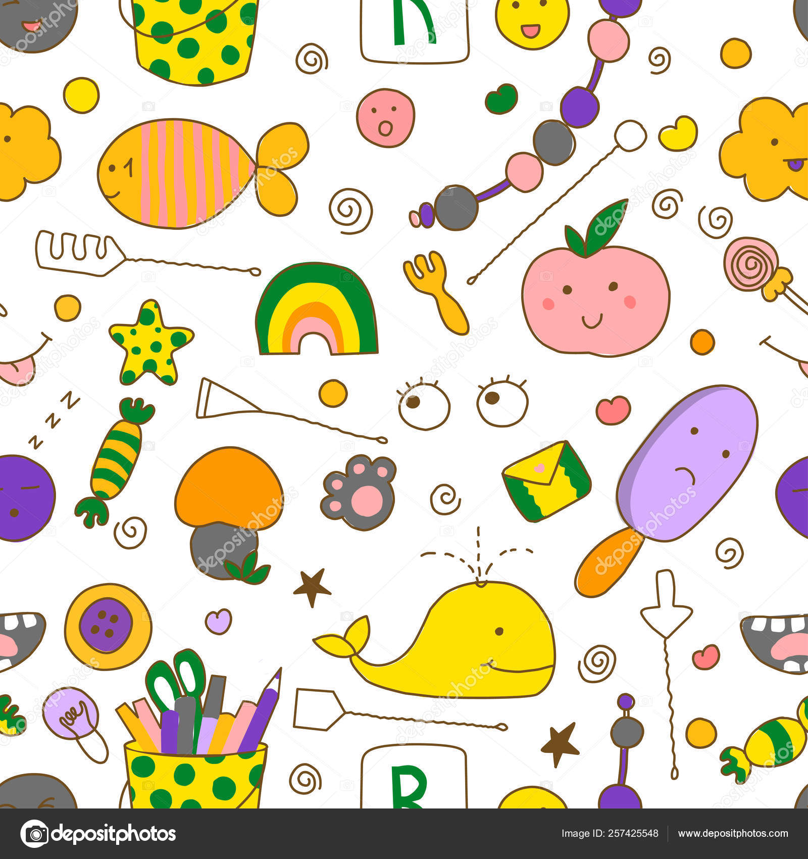 Seamless kawaii child pattern with speech therapy tools with cute