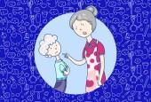 Mutter schimpft auf ihren Sohn, Beziehung zu Eltern, emotionale Szene. Vektor Cartoon Illustration