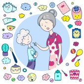 Mutter schimpft auf ihren Sohn, Beziehung zu Eltern, emotionale Szene. Symbole Spielzeug, Haushaltsgegenstände, Emojis. Vektor Cartoon Illustration