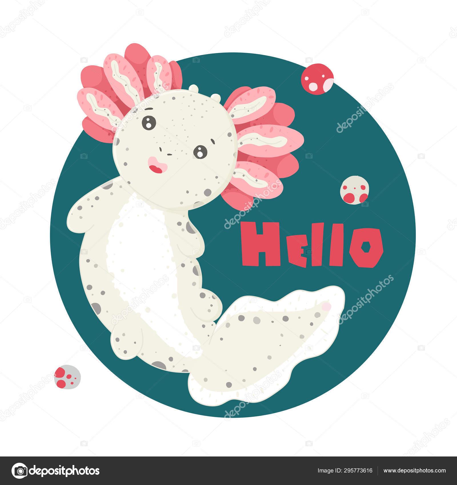 Mignon Axolotl Kawaii Dessin Damphibien De Bébé Dessin