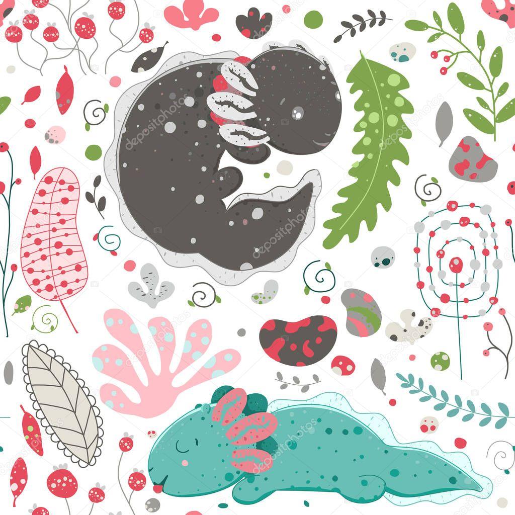 Cute Kawaii Dragon Cute Set Of Plant Elements Stones Berries Flowers Flat Style Design Ambystoma Mexicanum Premium Vector In Adobe Illustrator Ai Ai Format Encapsulated Postscript Eps Eps Format