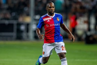 Thessaloniki, Greece - July 24, 2018: Player of Basel Aldo Kalulu in action during the UEFA Champions League Second qualifying round , 1st  match between PAOK vs Basel played at Toumba Stadium