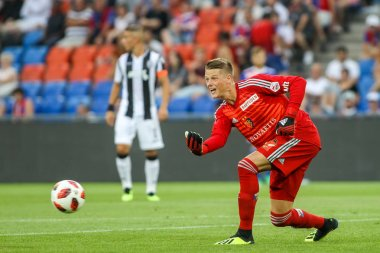 Basel, Switzerland - August 1, 2018: Player of Basel Jonas Omlin in action during the UEFA Champions League Second qualifying round , 2st  match between PAOK vs Basel played at St. Jakob-Park Stadium